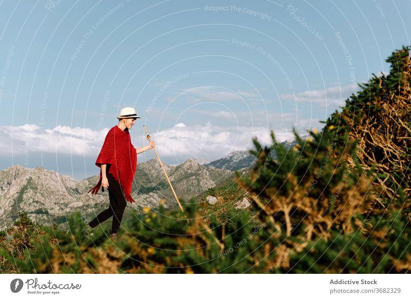 Frau in den Bergen im Sommer ruhig Reisender genießen Sonne Berge u. Gebirge Hochland Urlaub Gelassenheit Feiertag Hügel Tourismus Ausflug erstaunlich
