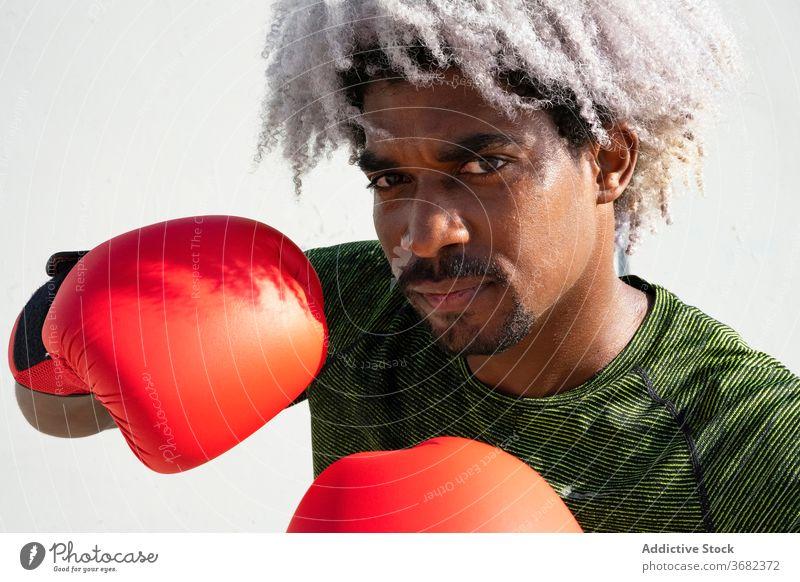 Afroamerikanischer Boxer bereit zum Training Sportler Haltung bewachen ernst Straße Wand schäbig männlich Boxsport Kraft schwarz ethnisch Afroamerikaner Athlet