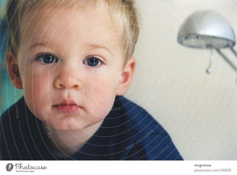 Kind Kind blau Gesicht Junge Denken Fragen