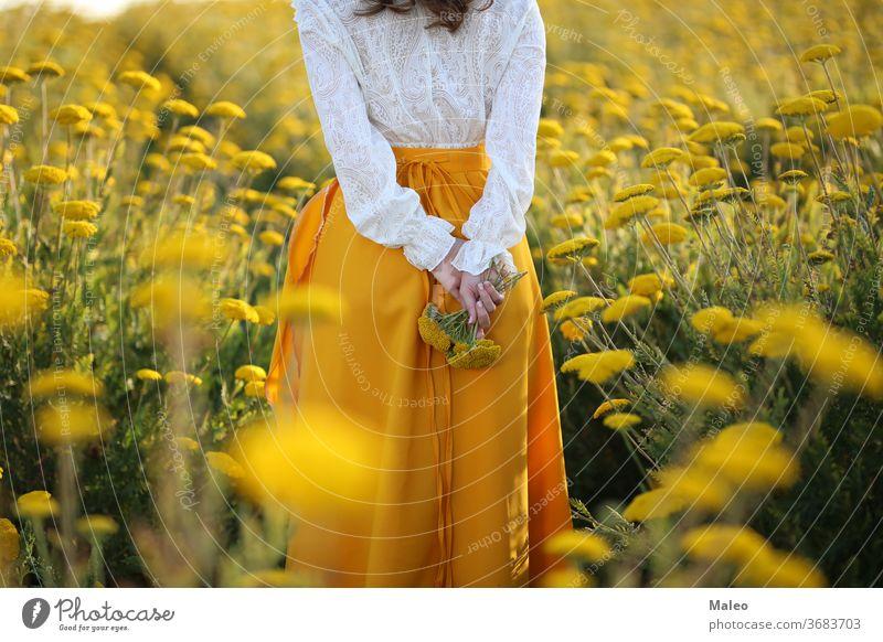 Ein Mädchen in einem gelben Rock und einer weißen Bluse steht in einem Feld gelber Blumen Hintergrund böhmen Land Paar Abenddämmerung Finger Gras grün Höhe