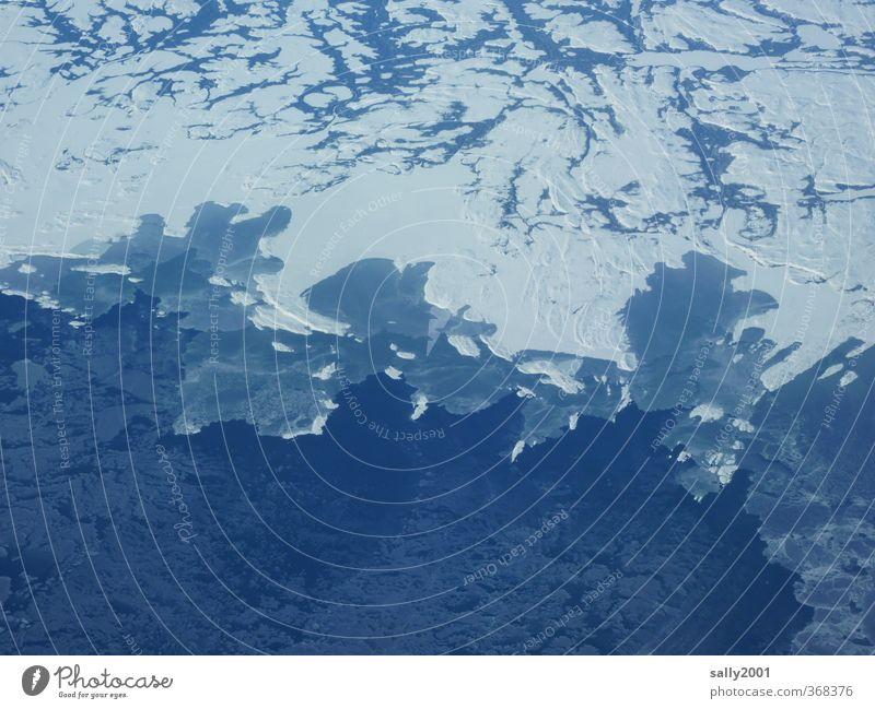 Ice Age Natur Klimawandel Eis Frost Schnee Küste Meer Atlantik Kanada Neufundland Amerika Luftverkehr Flugzeugausblick ästhetisch kalt blau weiß Einsamkeit