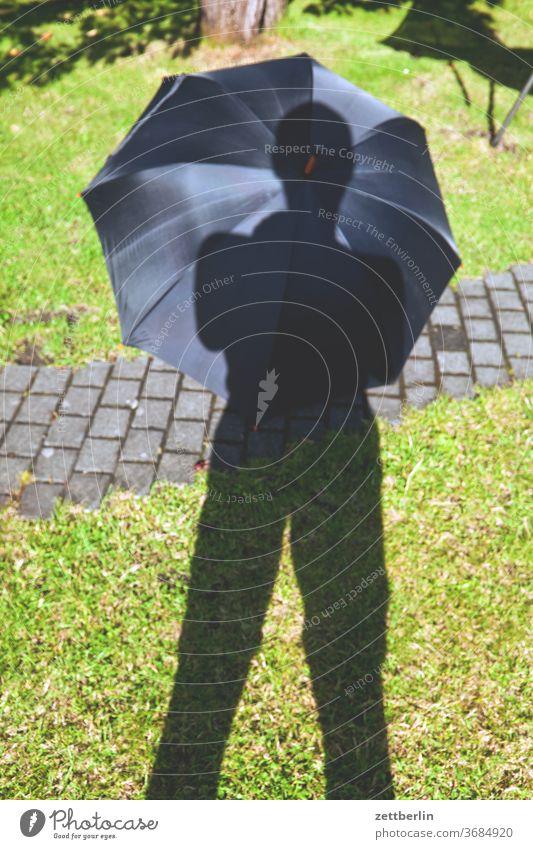 Regenschirm im Garten erholung ferien garten gras kleingarten kleingartenkolonie natur pflanze rasen ruhe schrebergarten sommer stamm strauch textfreiraum wiese