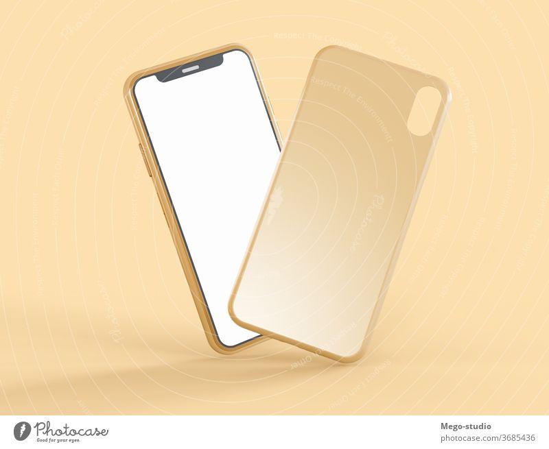 3D-Illustration. Mockup eines Smartphones mit Telefontasche. 3d Grafik u. Illustration Attrappe Fall Zubehör übersichtlich 3D-Rendering tragbar nach oben Stil