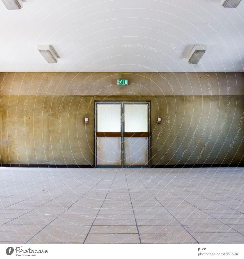 Fluchtweg Business Arbeitslosigkeit Ruhestand Feierabend Mauer Wand Tür Stein Holz Glas Kunststoff Zeichen alt dreckig braun grün weiß Farbe Vergänglichkeit
