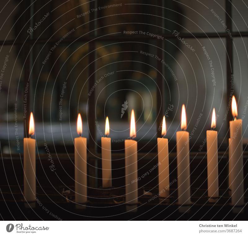 Kerzenaltar mit brennenden Kerzen in einer Kapelle brennende Kerzen Kirche beten Ruhe Hoffnung Licht Religion Glaube Religion & Glaube Christentum Gebet heilig
