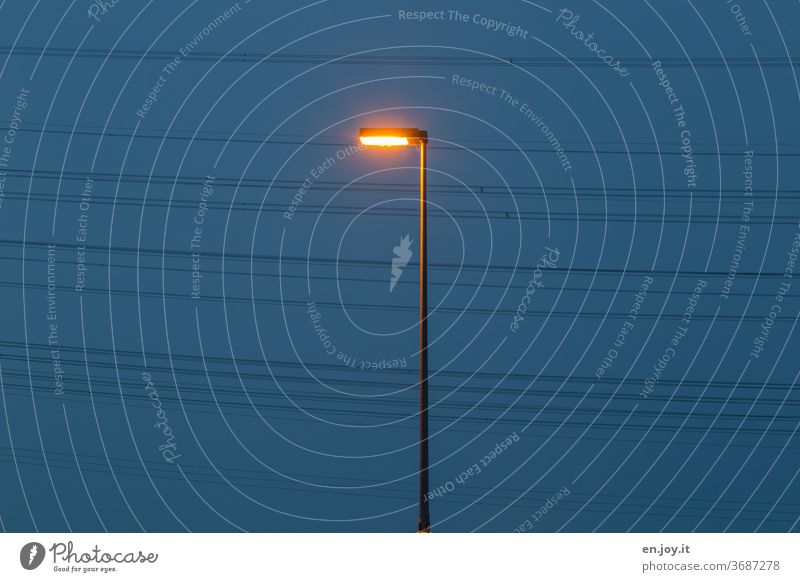 Stromversorgung Laterne Straßenbeleuchtung Strassenlaterne Stromleitung Energie Elektrizität Klimawandel Energiewirtschaft EnergieEnergieverbrauch Energiekrise