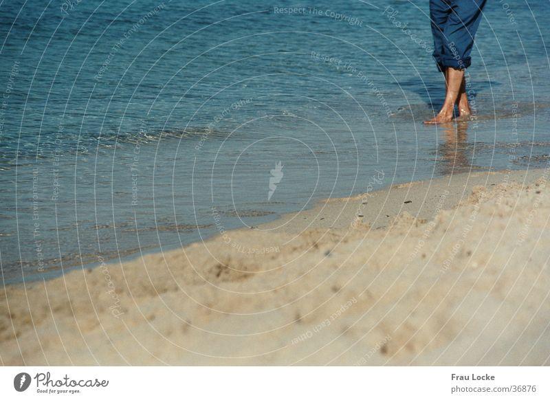 Barfuß Mensch Wasser Meer Strand Ferien & Urlaub & Reisen Erholung Sand
