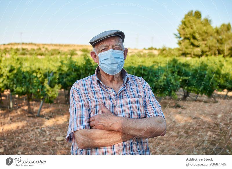 Älterer Mann mit medizinischer Maske auf dem Lande Senior älter Landschaft Mundschutz behüten Coronavirus COVID Sommer Natur männlich alt gealtert COVID19