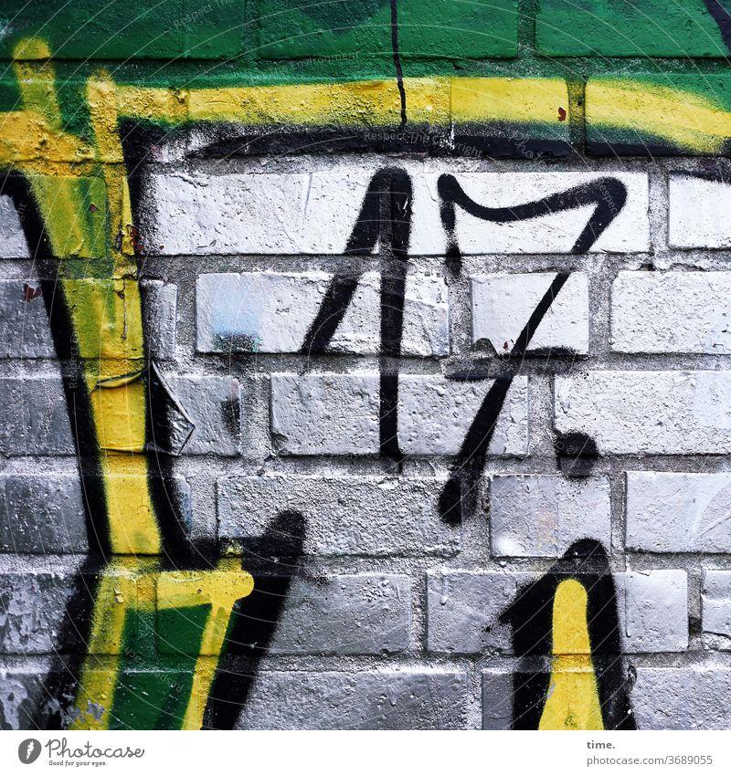 to whom it may concern today .)) Menschenleer Inspiration bunt wand mauer backstein grafitti bauwerk fuge alt kreativ 17 siebzehn silbern silbrig grün gelb
