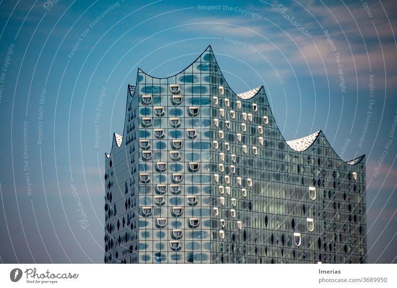 Dach der Elbphilharmonie Hamburg Sehenswürdigkeit Wahrzeichen Hafen Hafenstadt Skyline Reflexion & Spiegelung Reflektion Bauwerk glänzend Elbe Gebäude Denkmal