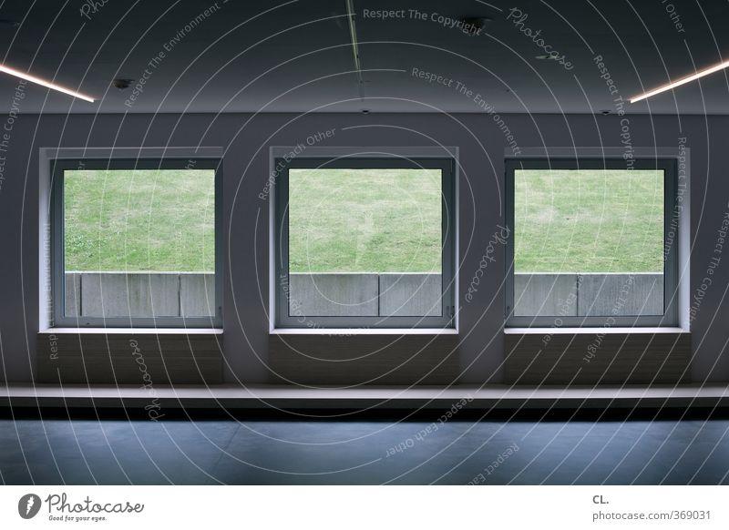 zimmer ohne aussicht Einsamkeit ruhig Haus dunkel Fenster kalt Wiese Wand Architektur Mauer Büro Raum Angst Häusliches Leben Ordnung trist