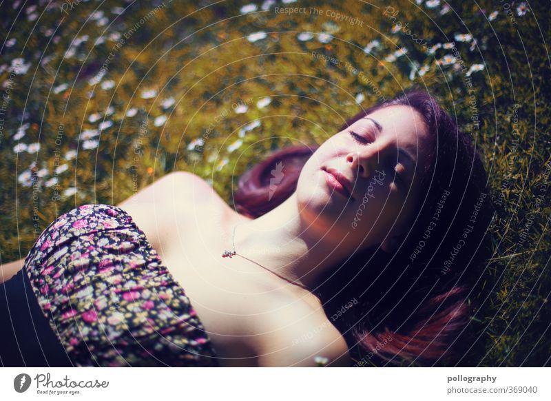 time for dream IV Mensch Frau Natur Jugendliche Sommer Pflanze Erholung Blume Freude ruhig Junge Frau Erwachsene 18-30 Jahre Wiese Leben Gefühle
