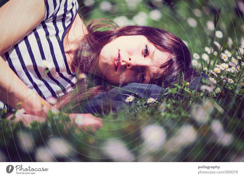 time for dream schön Mensch feminin Junge Frau Jugendliche Erwachsene Leben Kopf 1 18-30 Jahre Umwelt Natur Pflanze Erde Sommer Schönes Wetter Wärme Blume Gras