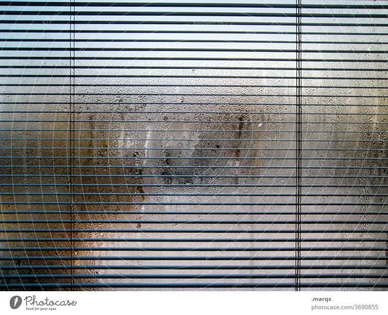 Sichtschutz Fenster beschlagene Scheibe Tau feucht Linie Jalousie schemenhaft undurchsichtig Wassertropfen Fensterscheibe