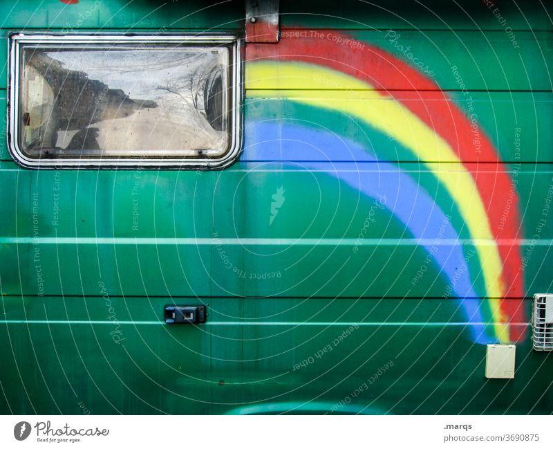 Regenbogenwohnwagen Wohnwagen Wohnmobil Ferien & Urlaub & Reisen Camping Freizeit & Hobby Freiheit Lifestyle Sommerurlaub Lebensfreude Erholung Leidenschaft