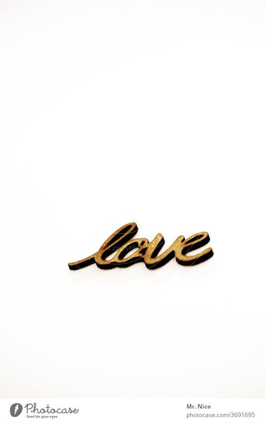 love Liebe Love Schriftzeichen Gefühle Buchstaben gold gelb Romantik Verliebtheit Liebesbekundung Liebesgruß Liebeserklärung Typographie Wand weiß Fremdsprache