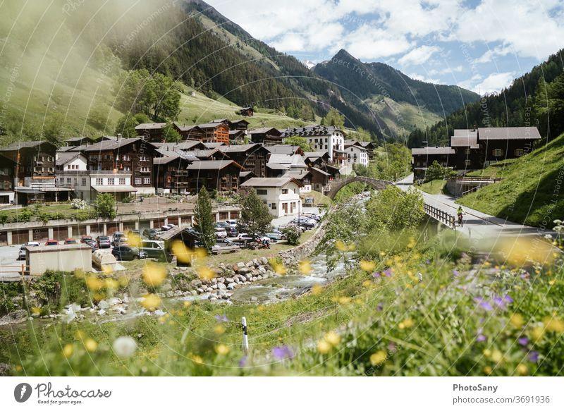 Landschaftspark Binntal Swiss Alps Schweiz wallis Bergdorf Frühling Blumenwiese Alpen Berge u. Gebirge Dorf Fluss Straße Schlucht Tal