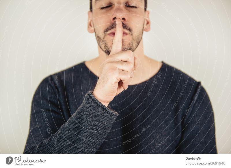 leise sein - Finger Mund Psst Geheimnis Mann