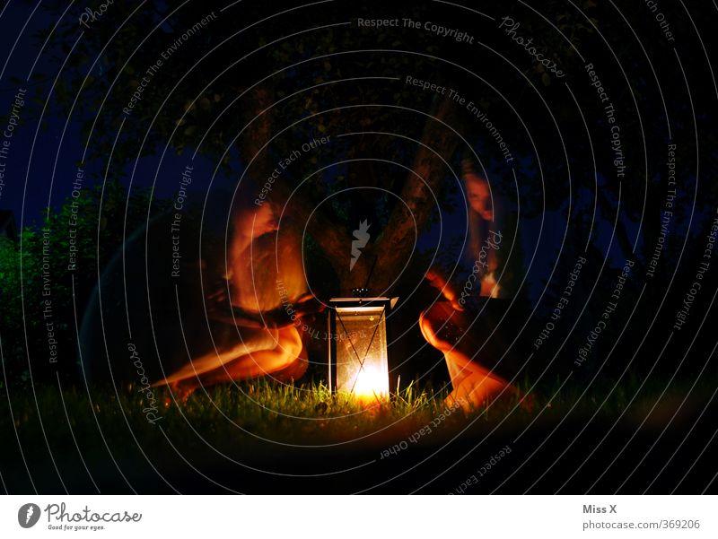 Waldgeist Camping Mensch Frau Erwachsene 2 18-30 Jahre Jugendliche Nachthimmel Sommer Wiese Gefühle Stimmung geheimnisvoll Lampion Laterne Zauberei u. Magie