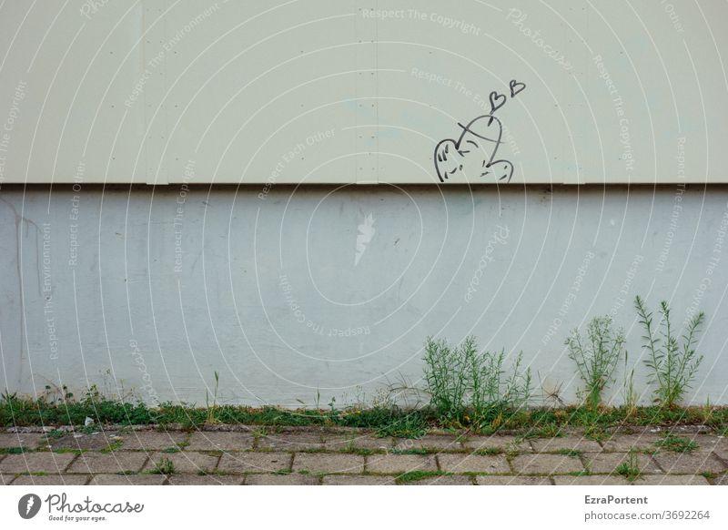Unkraut Mauer Wand Graffiti Penis Liebe Herz Geschlecht Haus Linien Fassade Zeichen Gefühle Verliebtheit Romantik