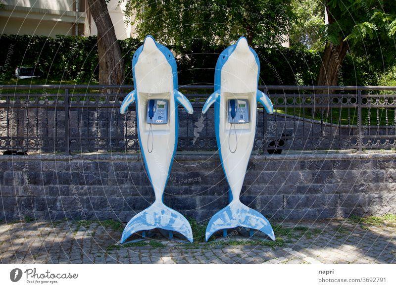 Delfin-Hotline | Zwei Kunstoff-Delfine mit öffentlichem Telefon im Bauch Telefonzelle Delphine Kommunizieren Telefonhörer Verbindung retro analog Kontakt Fisch