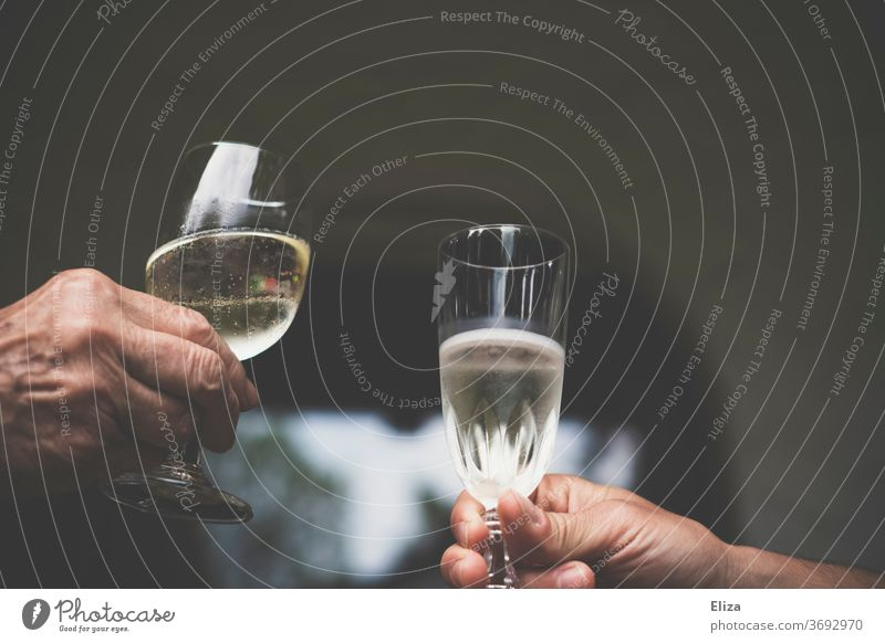 Prost. Zwei Menschen die mit Prosecco oder Sekt anstoßen. feiern Alkohol Champagner Schaumwein Sektglas Glas Getränk trinken perlig Feste & Feiern Party Hände