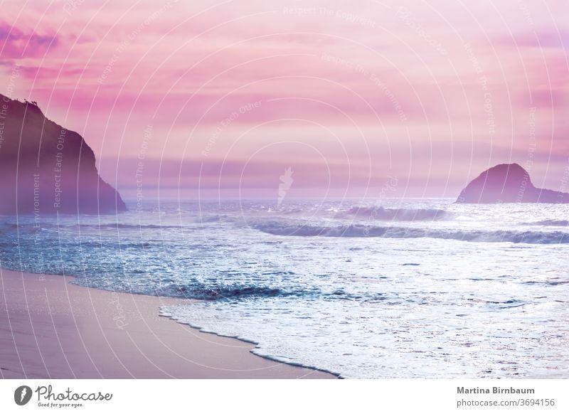Kalifornien träumt, Sonnenuntergangsstimmung am Strand von Mendocino, Kalifornien Morgendämmerung träumen Ferien Landschaft Wasser pazifik Küstenlinie rosa