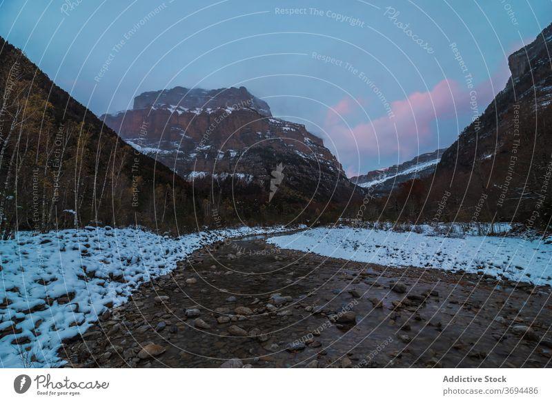 Schneller Fluss, der durch ein Bergtal fließt Berge u. Gebirge Wald Landschaft felsig wild strömen Gelände wolkig kalt Winter Natur Wasser platschen Stein