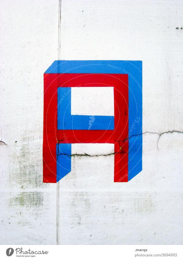 A Buchstabe Alphabet buchstabe a blau rot weiß Typographie Schriftzeichen Kommunikation Wand