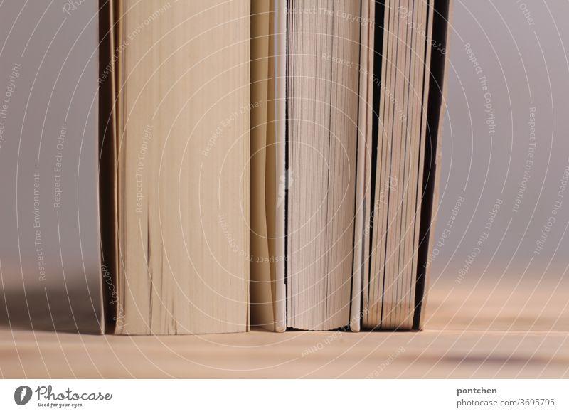 Drei unterschiedlich dicke Bücher mit weißen Seiten stehen eng nebeneinander auf einem Holztisch. Sich stützen, Zusammenhalt lesen bildung Literatur Buch Papier