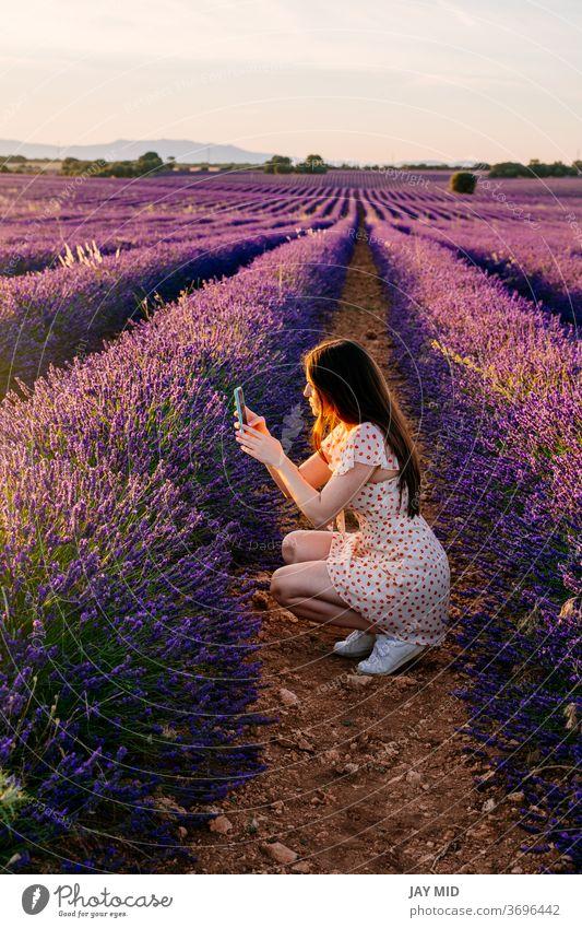 Frau in der Natur beim Fotografieren von Blumen im Urlaub. Selfie Telefon Sommer Feld Glück schön Landschaft Reisender Lavendel Porträt Menschen Schönheit