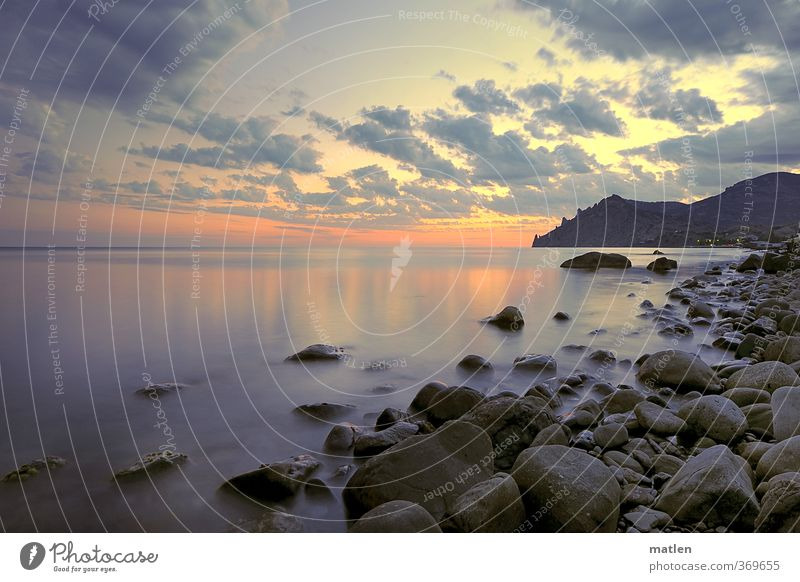 controluce Himmel blau Sommer Sonne Meer rot Landschaft Wolken Strand Berge u. Gebirge Küste grau Stein Felsen Horizont Wetter