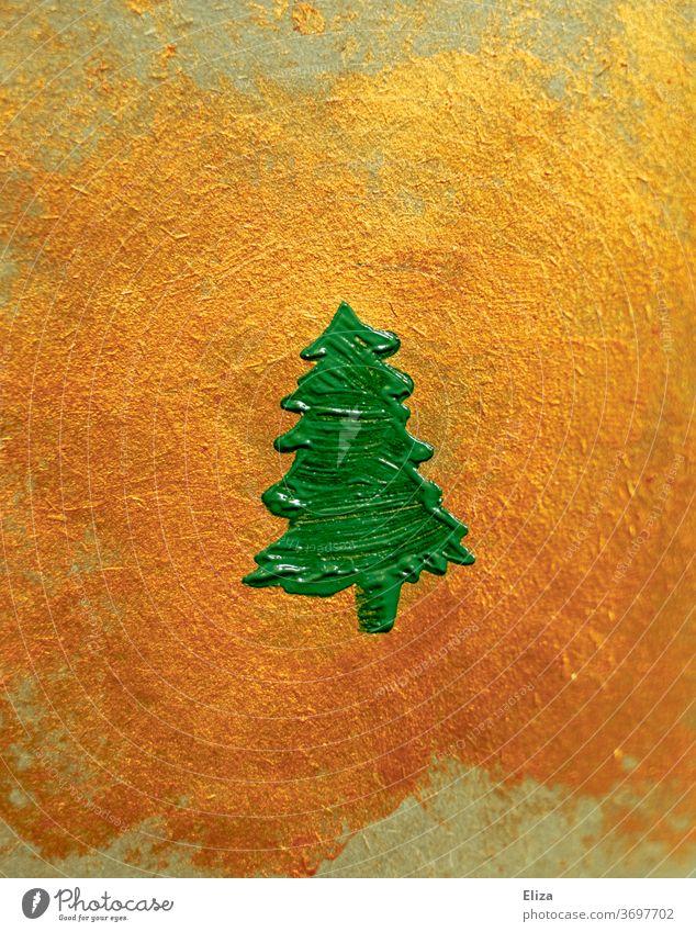 Grüner gemalter Tannenbaum auf goldenem Hintergrund. Weihnachten. grün Weihnachtsdekoration Dekoration & Verzierung Weihnachtsbaum Struktur mittig Symbol