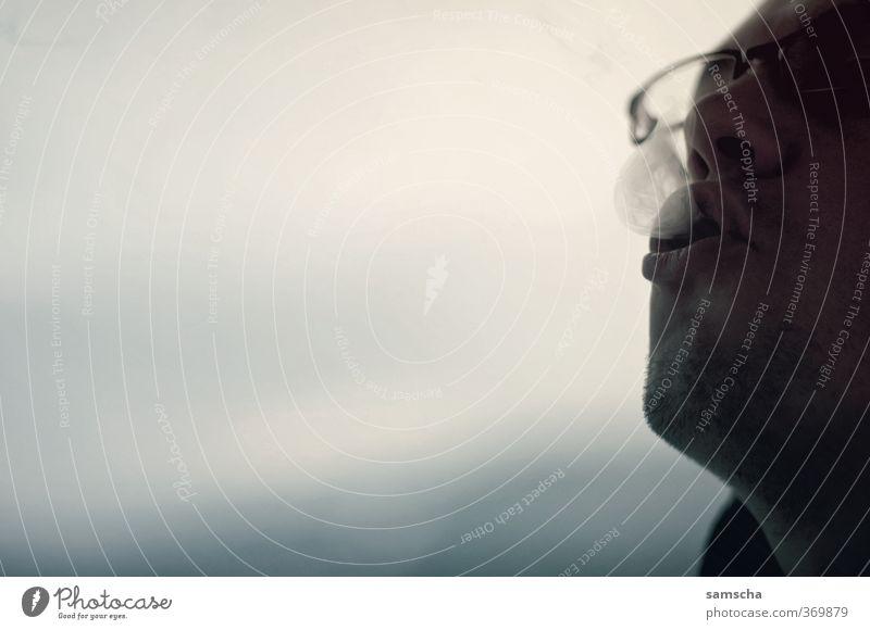 Raucher I Mensch Mann Jugendliche Erwachsene Gesicht Junger Mann Leben 18-30 Jahre Kopf maskulin Brille Rauchen Tabakwaren atmen Zigarette