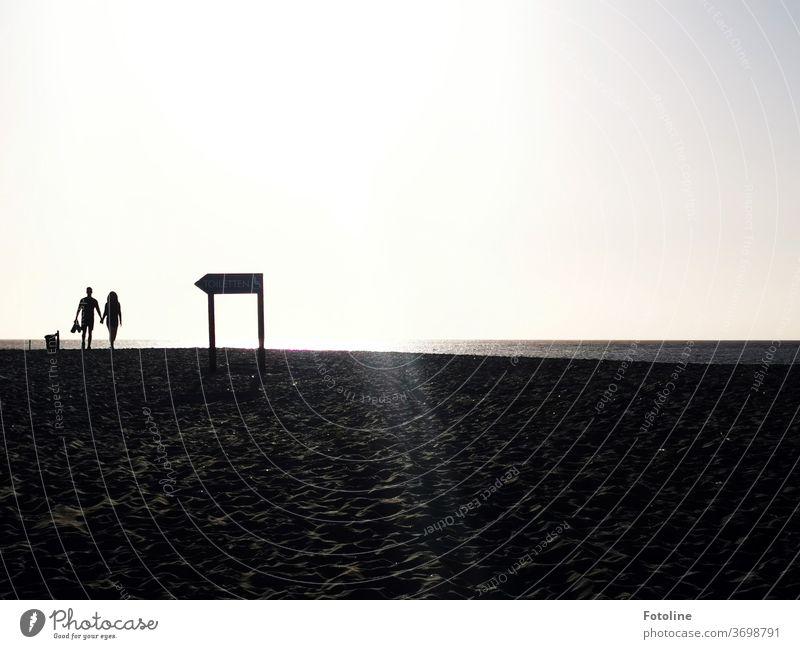 Am Strand von der Düne Helgoland spaziert ein Pärchen an einem Wegweiser vorbei. Sind sie ihm gefolgt? Nordsee Außenaufnahme Farbfoto Natur Tag Umwelt
