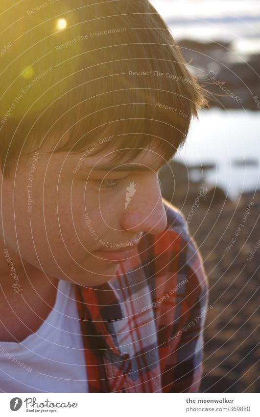 sommer ?! Mensch Kind Jugendliche weiß rot Erholung ruhig Gesicht gelb Wärme Junge Glück Kopf Stimmung braun orange