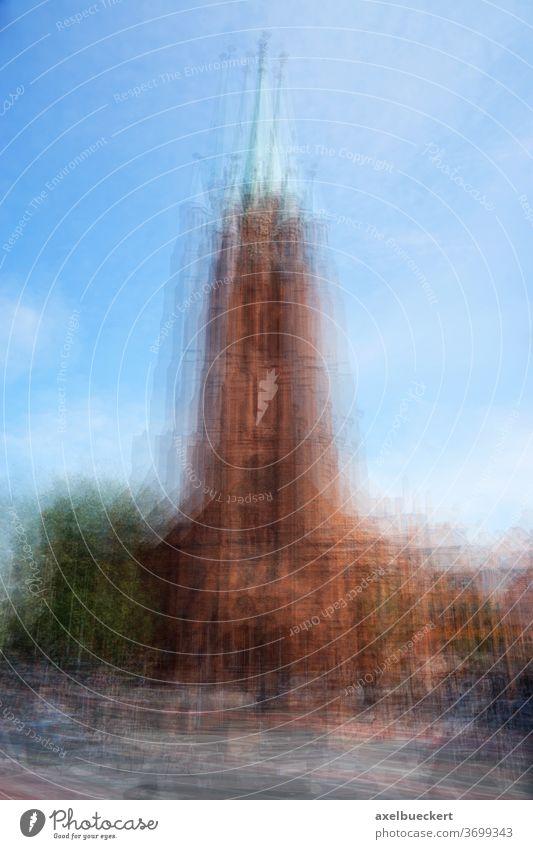 Kirche Mehrfachbelichtung Kirchturm Religion mehrfachbelichtung abstrakt Architektur Kathedrale Gebäude Turm verschwommen Symbol Religion & Glaube Stadt