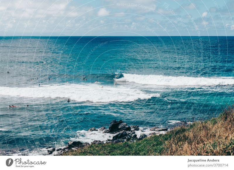 Surfer in Maui warten auf die nächste Welle im Meer meer maui wasser blau landschaft surfer wellen brandung Surfbrett Küste Sport Lifestyle traumhaft Surfen