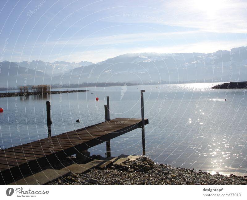 stony beach See Frieden Sonne Wasser Berge u. Gebirge