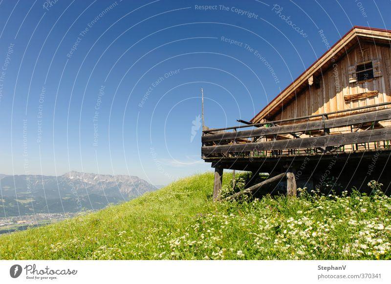 Almhütte Himmel Natur blau grün Sommer Landschaft Umwelt Ferne Berge u. Gebirge Gras Gesundheit natürlich Fahrrad Tourismus wandern Schönes Wetter