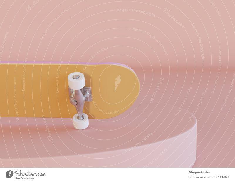 3D-Illustration. Skateboard auf pastellfarbenem Hintergrund. 3d Grafik u. Illustration sehr wenige Schlittschuh Rendering Skateboarderin graphisch Wagenräder