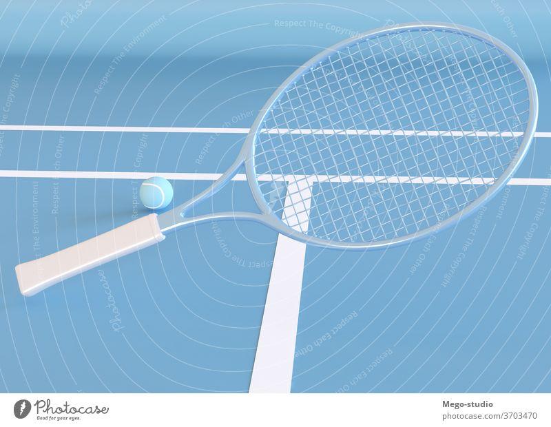 3D-Illustration. Tennisschläger und Ball. 3d Spiel Remmidemmi rendern Tennisplatz Grafiken Formen Hobby Vorlage Stil 3D-Rendering Hintergrund Symbol abstrakt