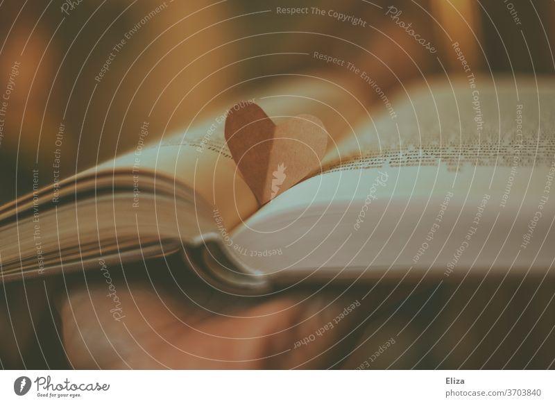 Ein Herz aus Papier auf einem aufgeschlagenen Buch. Liebe zu Büchern, dem Lesen und der Literatur. lesen Roman Liebesroman Leseratte liebe Leidenschaft