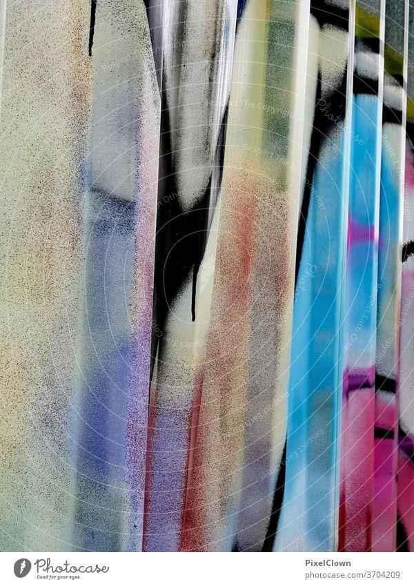 Farbige Wand Graffiti Farbfoto Fassade Mauer Außenaufnahme Straßenkunst Strukturen & Formen Menschenleer Kunst mehrfarbig Wandmalereien Bunt, urban, Street Art