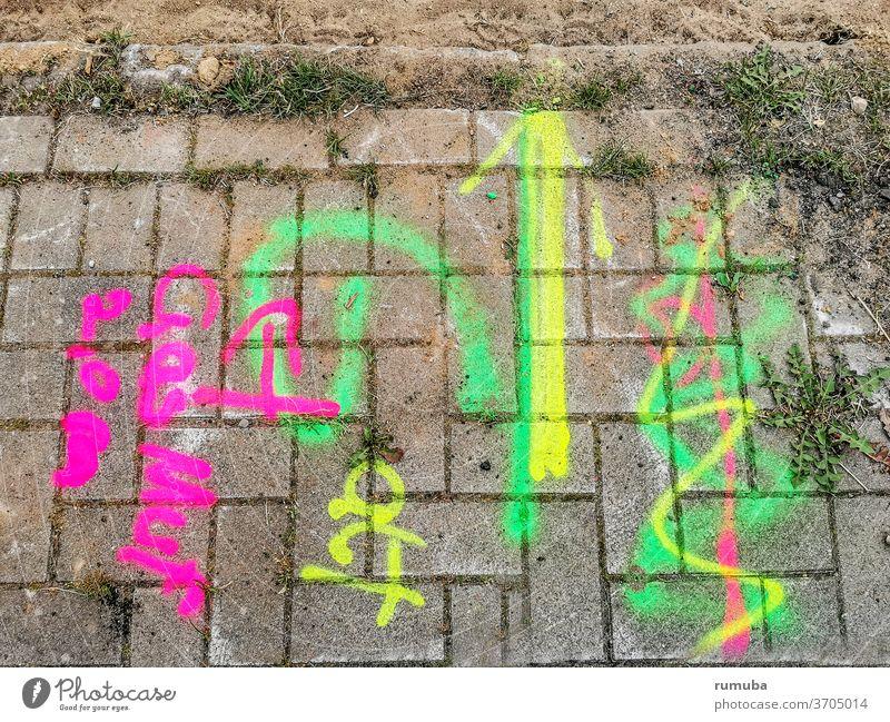 Kennzeichen zur Leitungsverlegung, farbig Stein Muster Wege & Pfade Verkehrswege Schilder & Markierungen grau Baustelle Farbfoto mehrfarbig abstrakt Straße
