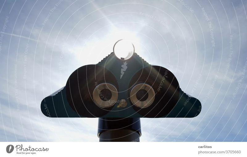 """""""Augen"""" in der Luft Fernglas Fernrohr Aussicht entdecken erforschen Sonne Blendung Ferien Tourismus Sommer Ausflug Teleskop Ferien & Urlaub & Reisen Blick blau"""