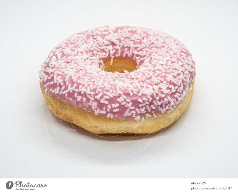 Rosa Donuts mit weißen Streuseln isoliert Hintergrund Bäckerei Frühstück Kuchen Kalorien kreisen farbenfroh lecker Dessert Teigwaren Doughnut essen Fett
