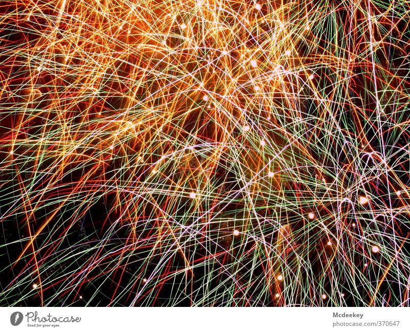 Buntes Chaos blau grün weiß rot schwarz gelb dunkel grau Beleuchtung außergewöhnlich Linie braun rosa orange fliegen glänzend
