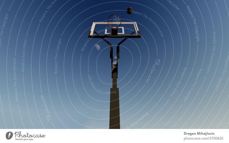 Spielen Sie mit uns Korb Basketballplatz Basketballkorb Mond Ball springen Himmel endlos Sport