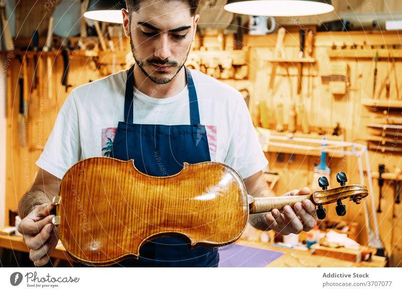Männlicher Meister in Werkstatt mit Geigen Mann Mechaniker Instrument Musik Kunsthandwerker Hobelbank Schürze männlich glänzend Handwerk Arbeit Gerät modern